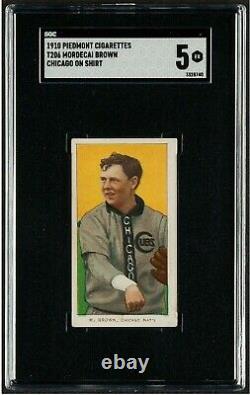1909 1911 T206 Piedmont Mordecai Brown Hall Of Fame Chicago On Shirt Ex Sgc 5