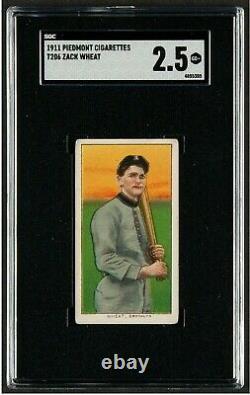 1909 1911 T206 Piedmont Zack Wheat Rookie Hall Of Fame Brooklyn Sgc 2.5