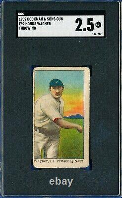 1909 E92 Dockman & Sons Gum Honus Wagner Throwing Pirates Hall Of Fame Sgc 2.5