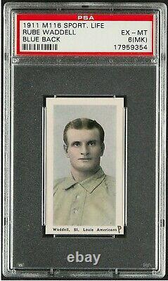 1911 M116 SPORTING LIFE RUBE WADDELL BLUE BACK HALL OF FAME CLEAN BACK(mk) PSA 6