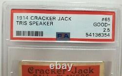 1914 Cracker Jack Tris Speaker #65 Baseball Card Psa 2.5 Hall Of Fame