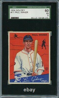 1934 Goudey #11 Paul Waner Hall Of Fame Pittsburgh Pirates Ex Sgc 5