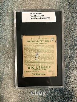 1934 Goudey #6 Dizzy Dean SGC 10 1 St Louis Cardinals HOF Hall of Fame
