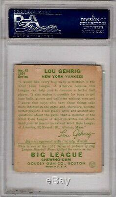 1934 Goudey #61 Lou Gehrig Hall Of Fame New York Yankees Psa 1