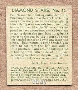 1935 Diamond Stars Paul Waner #83 Green Back Hall Of Fame