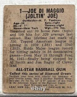 1939 Play Ball New York Yankees Joe Dimaggio #26 Poor Creases Glue Hall Of Fame