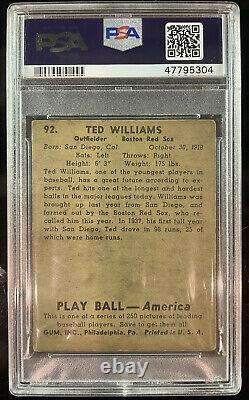 1939 Play Ball Ted Williams Rookie RC #92 PSA 2. Hall of Fame ROOKIE