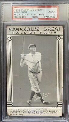 1948 Exhibits Baseball's Great Hall of Fame BABE RUTH Batting NY Yankees PSA 2