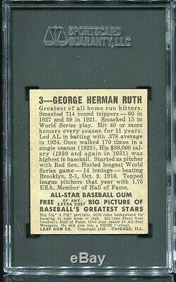 1948 Leaf Babe Ruth Baseball Card #3 Hall of Fame Yankees HOF VG-EX+ SGC 4.5
