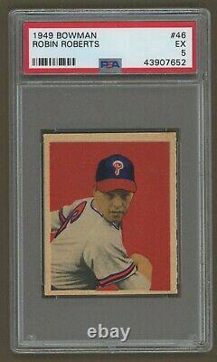 1949 Bowman Baseball #46 ROBIN ROBERTS ROOKIE PSA 5 EX Hall of Fame Rookie