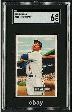 1951 Bowman #165 Ted Williams Vintage Hall Of Fame Boston Red Sox Exmt Sgc 6