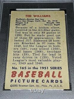 1951 Bowman Ted Williams #165 Psa Vg-ex 4 (centered) Hall Of Fame Boston Redsox