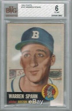 1953 Topps WARREN SPAHN # 147 (BVG 6 EX-NM) MLB Hall of Fame 892