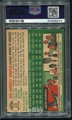 1954 Topps Baseball Card #10 Jackie Robinson Hall of Fame HOF SHARP VG-EX PSA 4