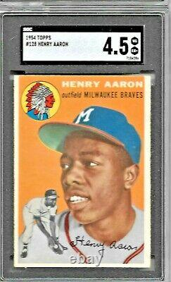 1954 Topps Henry Aaron #128 Sgc 4.5 Vg-ex+ Rookie Card! Hall Of Fame