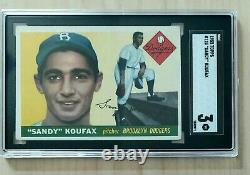 1955 Topps #123 Sandy Koufax Rookie SGC 3 Hall of Fame RC Just Graded HD Pics