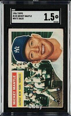 1956 Topps #135 Mickey Manlte Hall Of Fame New York Yankees White Back Sgc 1.5