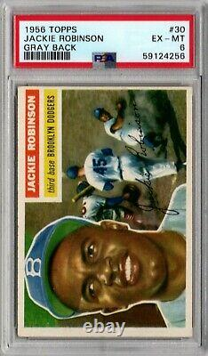 1956 Topps #30 Jackie Robinson Hall Of Fame Brooklyn Dodgers Ex-mt Psa 6