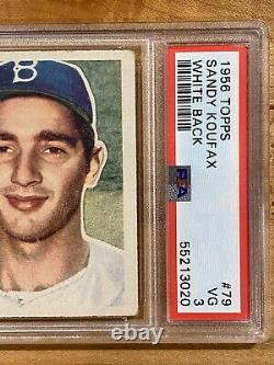 1956 Topps Sandy Koufax #79 PSA 3 VG+ White Back Brooklyn Dodgers Hall Of Fame