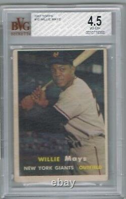 1957 Topps WILLIE MAYS # 10 (BVG 4.5 VG-EX+) MLB Hall of Fame 366