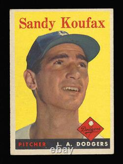 1958 Topps #187 Sandy Koufax Hall Of Fame Member Dodgers Pitcher