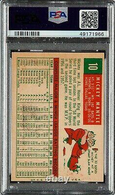 1959 Topps #10 Mickey Mantle Hall Of Fame New York Yankees Ex Psa 5