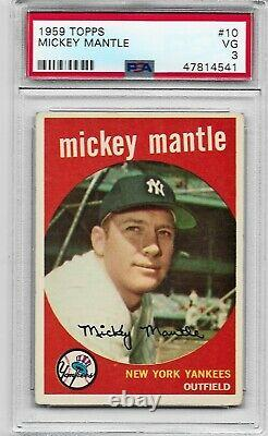 1959 Topps #10 Mickey Mantle New York Yankees Hall Of Fame PSA 3