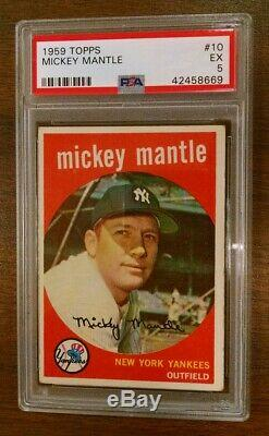 1959 Topps #10 Mickey Mantle Psa 5 New York Yankees Hall Of Fame