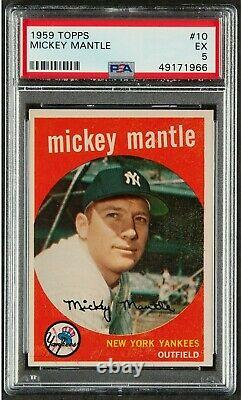 1959 Topps #10 Mickey Mantle Vintage Hall Of Fame New York Yankees Ex Psa 5