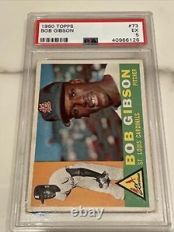 1960 Topps #73. Bob Gibson 2nd Card PSA 5. Hall Of Fame. St Louis Cardinals