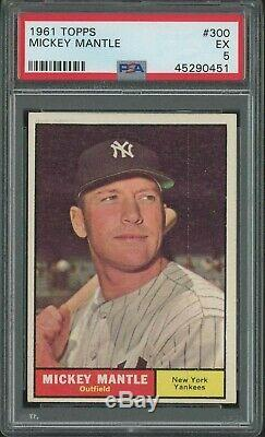 1961 Topps #300 Mickey Mantle Hall Of Fame New York Yankees Psa 5