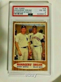 1962 Topps'managers Dream' M. Mantle / W. Mays #18 Vg-ex 4 Hall Of Fame