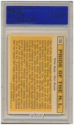 1963 Topps Pride Of N. L. #138 (Hall of Fame) Willie Mays / Stan Musial PSA NM 7