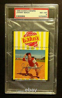 1968 Kahn's Wieners Johnny Bench Hall of Fame Rookie PSA 8 NM-MT