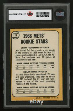 1968 Topps #177 Nolan Ryan Hall of Fame Rookie Card KSA 8 Centered Sharp