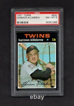 1971 Topps #550 Harmon Killebrew Minnesota Twins Hall of Fame PSA 8 NM/MT