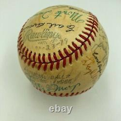1979 Hall Of Fame Induction Signed Baseball Satchel Paige Willie Mays JSA COA