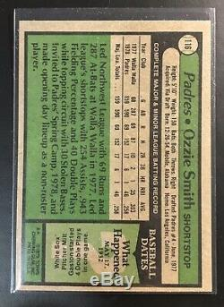 1979 Topps #116 Ozzie Smith Rc Rookie Hof Hall Of Fame Nice Centering