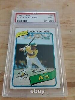 1980 Topps Rickey Henderson Athletics #482 PSA 7 NM HALL OF FAME ROOKIE CARD