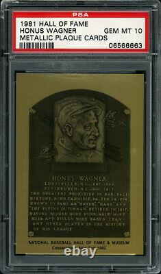 1982 HALL OF FAME METALLIC PLAQUE CARDS #NN HONUS WAGNER PSA 10 GEM MT Pop 5
