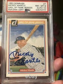 1983 Donruss Mickey Mantle Hall Of Fame Heroes Signed PSA 8 Auto 10 sp