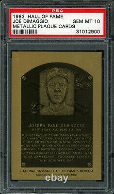 1983 HALL OF FAME METALLIC PLAQUE CARDS #NN JOE DiMAGGIO PSA 10 GEM MT Pop 5