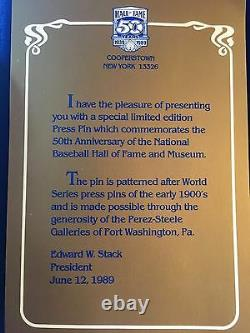 1989 Baseball Hall Of Fame Anniversary Press Pin