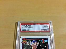 1991 TOPPS CHIPPER JONES PSA 10 GEM MINT ROOKIE CARD #333 HALL of FAME