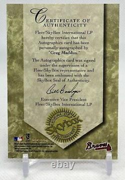 1999 Fleer Skybox Greg Maddux Autographics Auto Atlanta Braves MLB Hall Of Fame