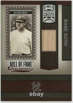 2005 DONRUSS GREATS Hall Of Fame Souvenirs Babe Ruth Game-Used Bat card