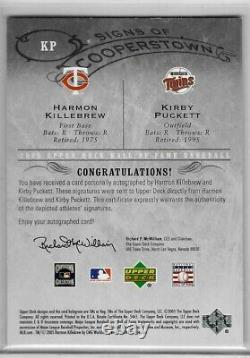 2005 UD Hall of Fame Harmon Killebrew Kirby Puckett Dual Auto 1/10 Upper Deck SP