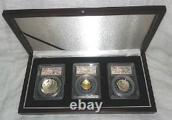 2014 Baseball Hall of Fame Silver 50c + $1 + $5 Gold 3-Coin Set All PR 70 FS