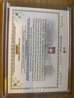 2014 PANINI HALL OF FAME TED WILLIAMS Cut Signatures RED SOX Auto #5/5