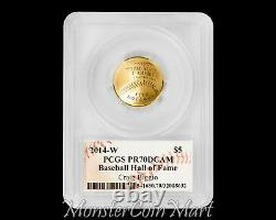 2014-W $5 Gold Baseball Hall of Fame PCGS PR70DCAM CRAIG BIGGIO AUTOGRAPHED
